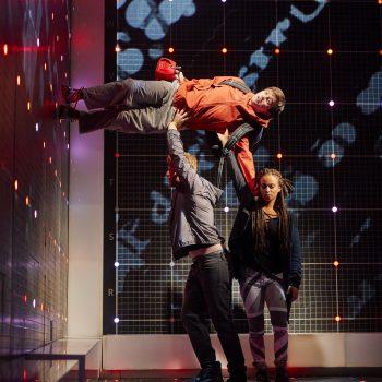 Joshua Jenkins (Christopher Boone), Matt Wilman (Mr Thompson) and Crystal Condie (Punk Girl) . Photo by BrinkhoffMögenburg