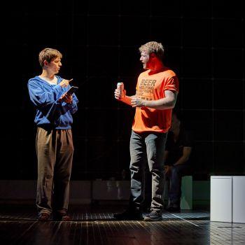 Joshua Jenkins (Christopher Boone) & Matt Wilman (Mr Thompson). Photo by BrinkhoffMögenburg