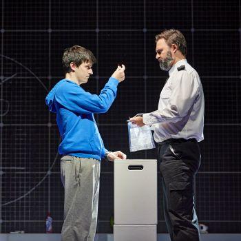Joshua Jenkins (Christopher Boone) & Oliver Boot (Policeman) Curious Incident International Tour. Photo by BrinkhoffMögenburg